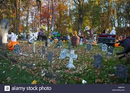 Halloween Decorations At Home by Suburban Home With Halloween Decorations Stock Photo Royalty Free
