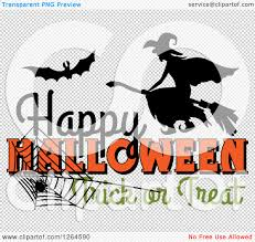 happy halloween text png clipart of a bat and witch over happy halloween trick or treat