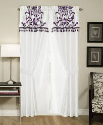Purple And White Curtains Chezmoi Collection 2 Panel Purple And White Floral
