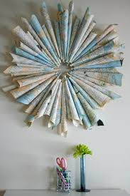 diy with maps rolled up map wreath is a gread recycled home
