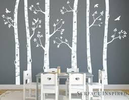 White Tree Wall Decal Nursery Birch Tree Wall Nursery Wall Decals White Birch Trees Wall