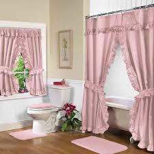 Bathroom Curtains Set Pink Swag Shower Curtain