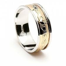 claddagh wedding rings engraved claddagh 14k yellow gold with white gold trim