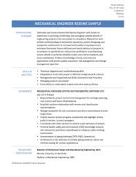 Resume For Manufacturing Professional Mechanical Engineer Resume Resume For Your Job