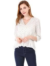 white wrap blouse allegra k sleeves v neck polka dots wrap blouse shirt