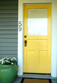 unfinished wood front door with glass yellow doors bright color