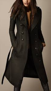 burberry long wool twill trench coat in green lyst