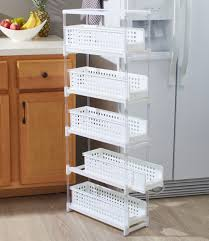 narrow storage cabinet for kitchen slim kitchen storage with five slide out drawers for
