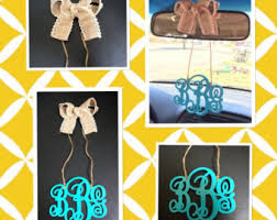 personalized rear view mirror charms monogram car charm etsy