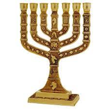 menorah hat seven branch menorah 12 tribes of israel gold judaica