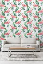 removable wallpaper for renters pink flamingo wallpaper tropical removable wallpaper exotic