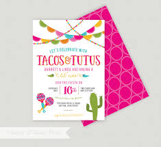 tacos and tutus shower fiesta baby shower invite mexican
