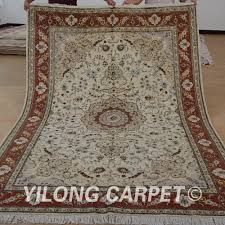 yilong 6 u0027x9 u0027 oriental wool silk rug carpet beige thick handmade