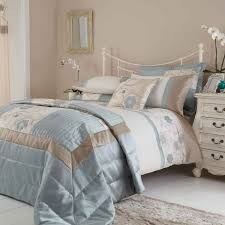 duck egg blue and brown bedding for couple bedroom decorating