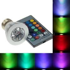 3w rgb led light bulb with remote colors changing e27