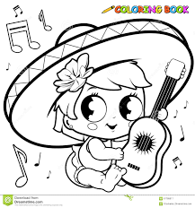mariachi baby playing the guitar coloring page stock vector