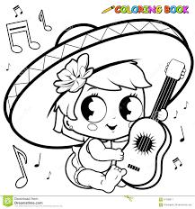 mariachi singer sombrero and maracas online coloring page cinco