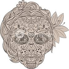 illustration of a decorated sugar skull or calavera with