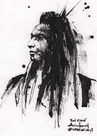 my native american sketch of chief red cloud inktober