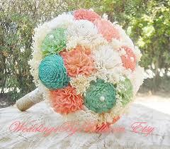 weddings mint peach bouquet burlap lace sola bouquet