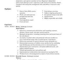 Resume Template For Waitress Resume Waitress Cv Template Summary Highlight Writing Resume