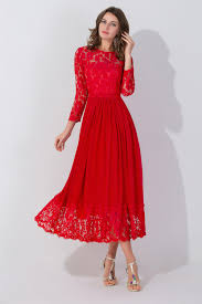 tea length red lace wedding dress charming zipper 2017 mother of