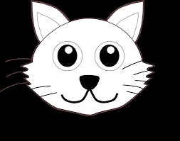 cat 1 face cartoon black white line coloring sheet colouring page