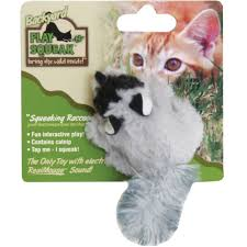 ourpets play n squeak backyard friend cat toy raccoon