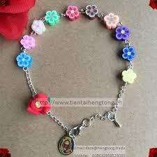 free rosary wholesale free shipping soft ceramic flower bracelets polymer