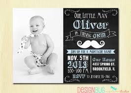 Baby Boy First Birthday Invitation Cards Mustache 1st Birthday Invitations