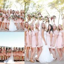 2017 blush pink chiffon lace bridesmaid dresses country cheap