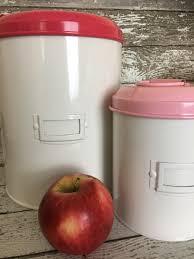 retro enamel canister set of 3 pink lids retro enamel canister set