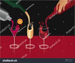 martini champagne pouring drinks pouring martini champagne wine stock vector