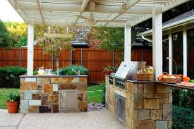 kitchen design covered outdoor kitchen with unique roof and simple outdoor kitchen design with stone cabinet and built in stainless steel grill under white
