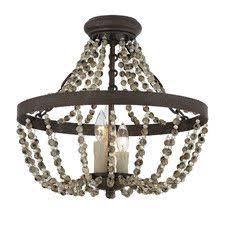 semi flush mount foyer light ruelas 3 light semi flush mount brushed metal beeswax candles and