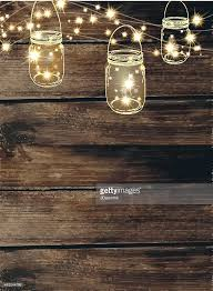 country wedding invitation design template jar and string lights