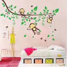 playing monkey tree wall stickers cute cartoon wall decals kids