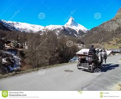 Horse Carriage And Matterhorn In Zermatt Switzerland Editorial