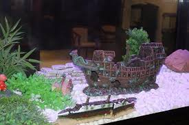 ornament big size pirate sunk ship shipwreck boat fish tank