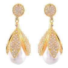 golden earrings buy swanvi golden earrings with pearl for women online
