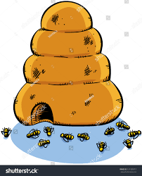 cartoon beehive surrounded by dead bees stock illustration