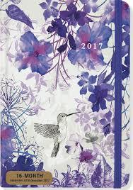 2017 hummingbird weekly planner 16 month engagement calendar