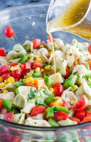 garden veggie tortellini pasta salad peas and crayons