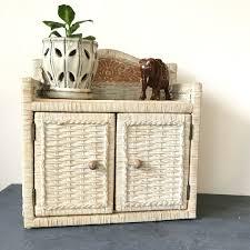 vintage rattan cabinet woven wicker wall cupboard boho