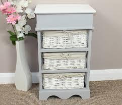 storage unit with wicker baskets shabby chic wicker basket storage unit ebay