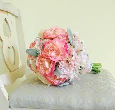 vintage bouquet pink and peony ranunculus hydrangea silk bouquet