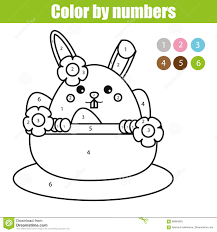 coloring page with easter bunny character color by numbers