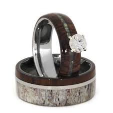 unique wedding ring sets deer antler wedding ring set with diamond and turquoise 3411