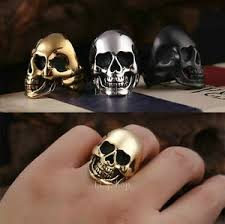 steel skull rings images Men 39 s punk gothic rock rocker biker vintage big heavy stainless jpg