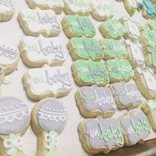 baby shower cookies grey white and mint baby shower mini cookies hayley cakes and